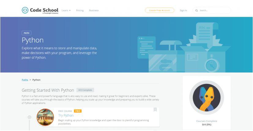 Website tự học lập trình Code School.