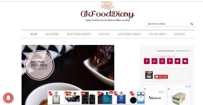 Website dạy nấu cháo dinh dưỡng - thực đơn GK Food diary