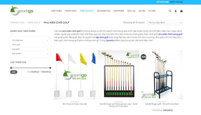 Website bán phụ kiện, thời trang golf chất lượng - Sportgo.vn