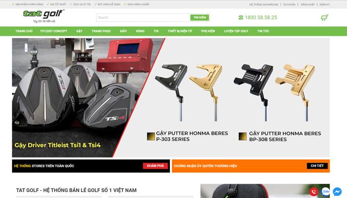 Website bán thiết bị, thời trang golf cao cấp - Tatgolf